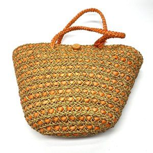 Native Woven Abaca Beach Bucket Tote Hand Bag 24""